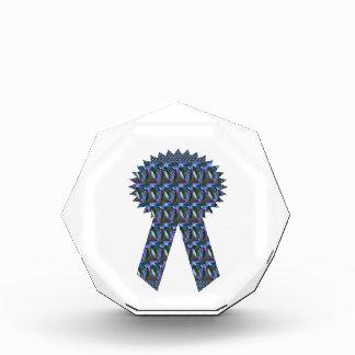 BLUE SPARKLE RIBBON OCTAGON ACRYLIC AWARD