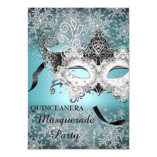 Blue Sparkle Snowflake Masquerade Quinceanera Card