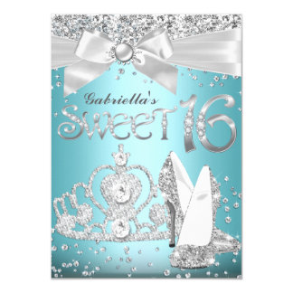 Blue Sparkle Tiara & Heels Sweet 16 Invite