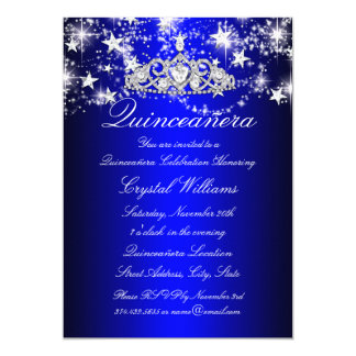 Blue Sparkle Tiara & Stars Quinceanera Card