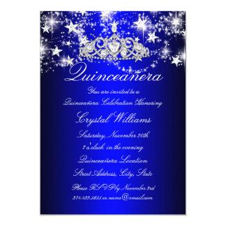 Blue Sparkle Tiara & Stars Quinceanera Card
