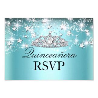 Blue Sparkle Tiara & Stars Quinceanera RSVP Card