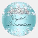 Blue Sparkle Tiara & Stars Quinceanera Sticker