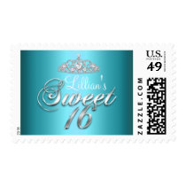 Blue Sparkle Tiara Sweet 16 Stamp