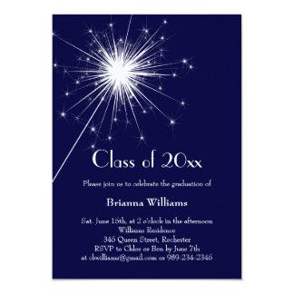 "Blue Sparkler Graduation Celebration Invitation 5"" X 7"" Invitation Card"