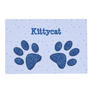 blue sparkling cat paw print- laminated placemat