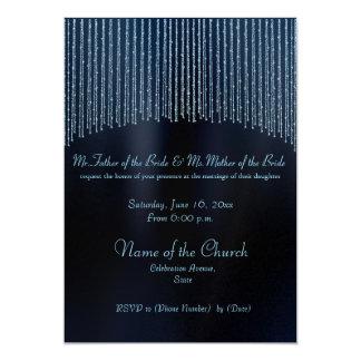 "Blue Sparkling Chain modern Wedding invitations 5"" X 7"" Invitation Card"