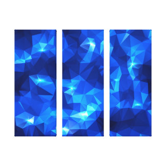 Blue Sparkling Low-Poly 3-Panel Canvas