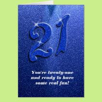 Blue Sparkly 21st Birthday Greeting Card