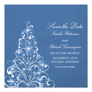Blue Sparkly Holiday Tree Save the Date Invite