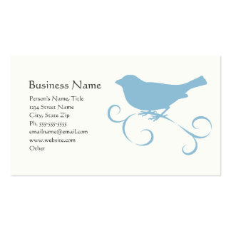 Blue Sparrow with Ribbon Business Card Template