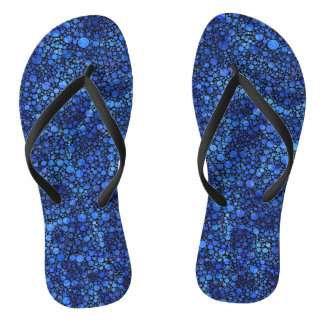Blue Speckled Abstract Flip Flops