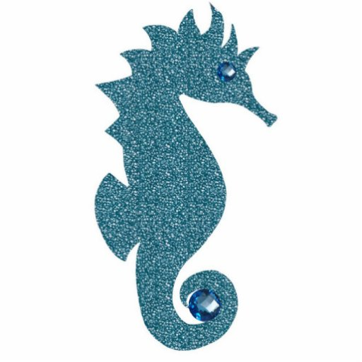 Blue Speckled Seahorse Key Chain Photo Sculptures