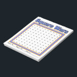 """Blue Specks Dot Game Notepad<br><div class=""""desc"""">Keep kids entertained with this 40 page Dot Game Notepad. Good for quiet activity during church, meetings, travel or entertainment. Also makes a great stocking stuffer! Players take turns drawing one line either vertically or horizontally from one dot to another. If you make a square you get to draw another...</div>"""