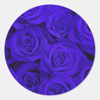 Blue Spectacular Roses Classic Round Sticker