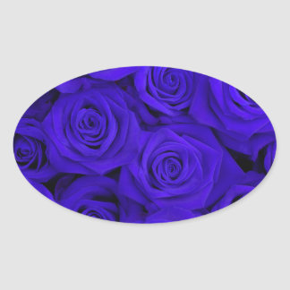 Blue Spectacular Roses Oval Sticker