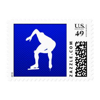 Blue Speed Skater Postage Stamps