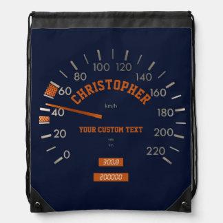 Blue Speedometer on Dashboard Backpack