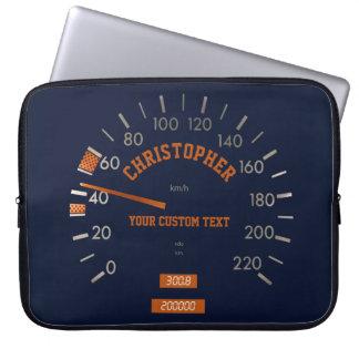 Blue Speedometer on Dashboard Laptop Sleeve