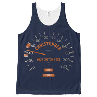 Blue Speedometer on Dashboard Top All-Over Print Tank Top