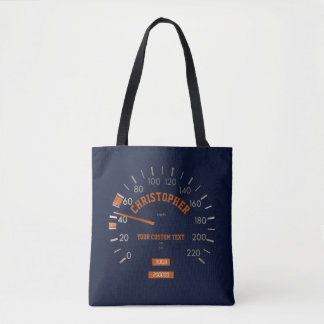 Blue Speedometer on Dashboard Tote Bag