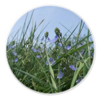 Blue Speedwell Flower Meadow Dresser Knob Ceramic Knob