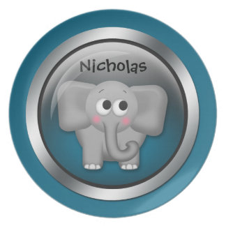 Blue Sphere - Elephant 10 Personalized Plate