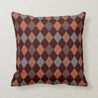 Blue & Spice Argyle Two Pattern Reversible Throw Pillow