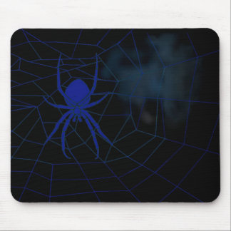 Blue spider in web, webbing mouse pad