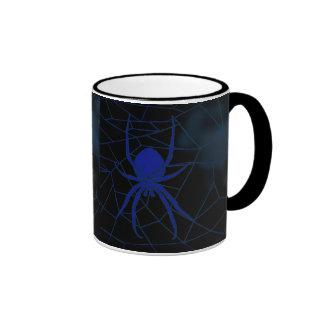 Blue spider in web, webbing ringer coffee mug