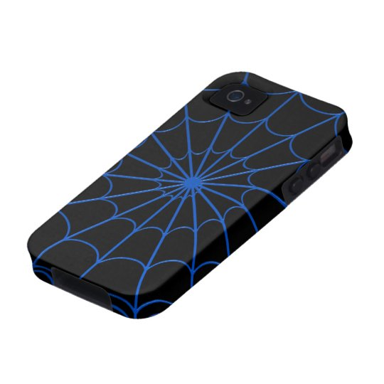 Blue Spiders' Web iPhone 4 Case-Mate Tough