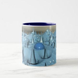 Blue Spikes Alien Terrain Two-Tone Coffee Mug