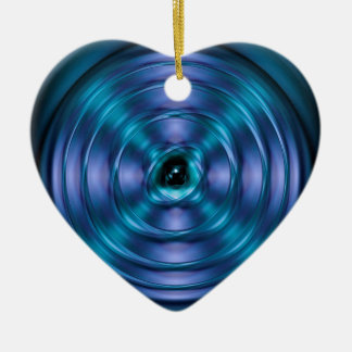 Blue spinning atom ceramic ornament