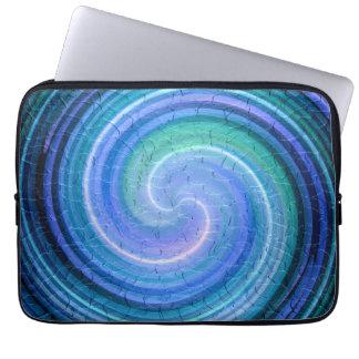 Blue Spiral Abstract Art 7 Computer Sleeve