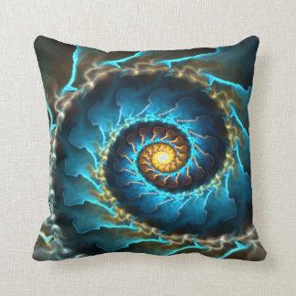 blue spiral abstract design fractal throw pillow