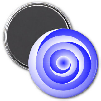 Blue Spiral Illusion by Kenneth Yoncich 3 Inch Round Magnet