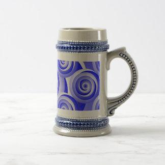 Blue Spiral Illusion by Kenneth Yoncich Beer Stein
