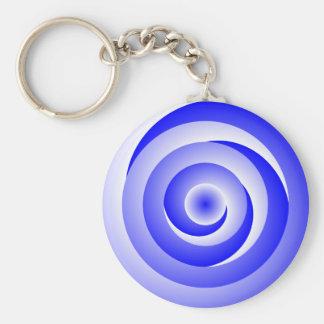 Blue Spiral Illusion by Kenneth Yoncich Keychain