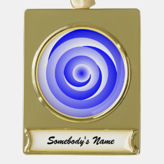 Blue Spiral Illusion Gold Plated Banner Ornament