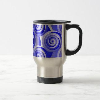 Blue Spiral Illusion Travel Mug
