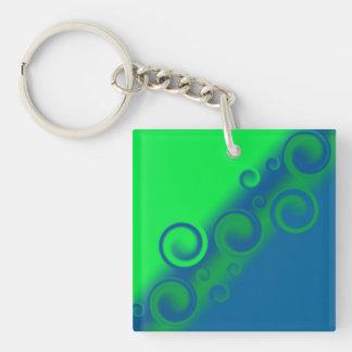 blue spiral Key Chain