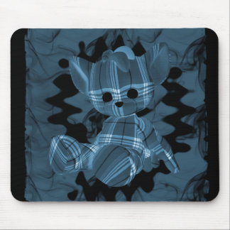 Blue Spiral Smoke Teddy Bear Mouse Pad