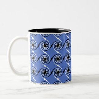 Blue Spiral Wave Graphic Pattern. Mug