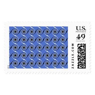 Blue Spiral Wave Graphic Pattern. Stamp