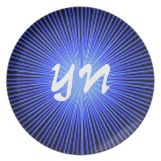 Blue Spirit Circle monogram Dinner Plates