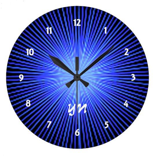 Blue Spirit Circle monogram Large Clock