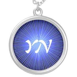 Blue Spirit Circle monogram Custom Necklace