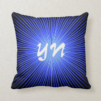 Blue Spirit Circle monogram Throw Pillow