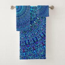 Blue Spiritual Flower Garden Mandala Bath Towel Set