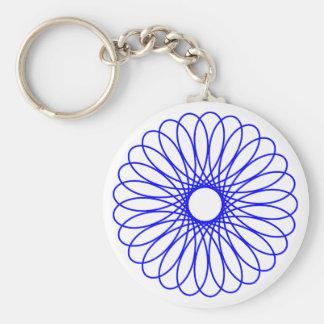 Blue Spirograph Basic Round Button Keychain